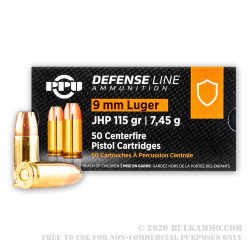 1000 Rounds of 9mm Ammo by Prvi Partizan - 115gr JHP