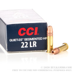 50 Rounds of .22 LR Ammo by CCI - 40gr Copper-Plated Segmented Hollow-Point (CPSHP)