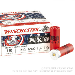 250 Rounds of 12ga Ammo by Winchester USA Game & Target - 1-1/8 ounce #7-1/2 shot