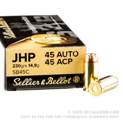50 Rounds of .45 ACP Ammo by Sellier & Bellot - 230gr JHP