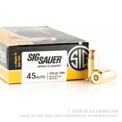 50 Rounds of .45 ACP Ammo by SIG - 230gr FMJ