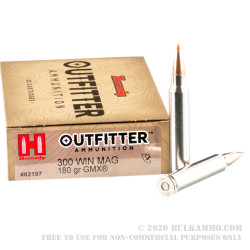 20 Rounds of .300 Win Mag Ammo by Hornady Outfitter - 180gr GMX