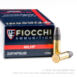 50 Rounds of .22 LR Ammo by Fiocchi - 40gr HP
