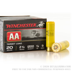 "250 Rounds of 20ga Ammo by Winchester AA - 2-3/4"" 7/8 ounce #9 shot"