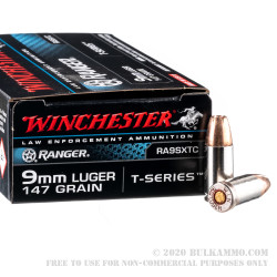 500 Rounds of 9mm Ammo by Winchester Ranger T-Series - 147gr JHP