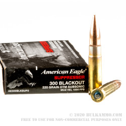 500  Rounds of .300 AAC Blackout Ammo by Federal American Eagle - 220gr OTM Subsonic