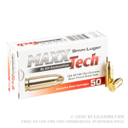 50 Rounds of 9mm Ammo by MAXX Tech - 124gr FMJ