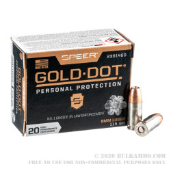 20 Rounds of 9mm Ammo by Speer - 115gr JHP