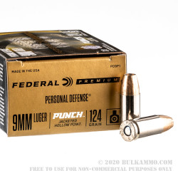20 Rounds of 9mm Ammo by Federal Punch - 124gr JHP
