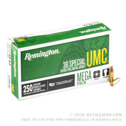 250 Rounds of .38 Spl Ammo by Remington - 130gr MC