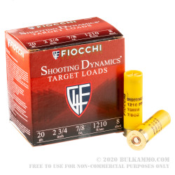 250 Rounds of 20ga Ammo by Fiocchi - 7/8 ounce #8 shot
