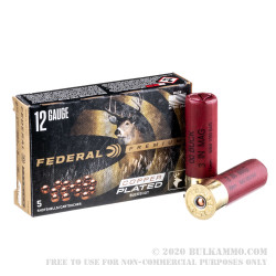 "5 Rounds of 12ga 3"" Ammo by Federal Vital-Shok -  00 Buck (Copper-Plated Lead Buckshot)"