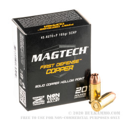 20 Rounds of .45 ACP +P Ammo by Magtech First Defense - 165gr SCHP