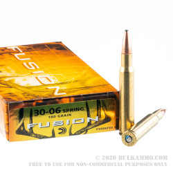 200 Rounds of 30-06 Springfield Ammo by Federal - 180 Grain Fusion