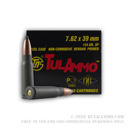 20 Rounds of 7.62x39mm Ammo by Tula - 124gr SP