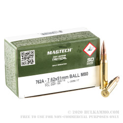 500  Rounds of 7.62x51mm M80 Ammo by Magtech - 147gr FMJ