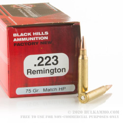 1000 Rounds of .223 Ammo by Black Hills Ammunition - 75gr Heavy Match HP