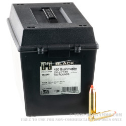 150 Rounds of .450 Bushmaster Ammo by Hornady BLACK in Field Box - 250gr FTX