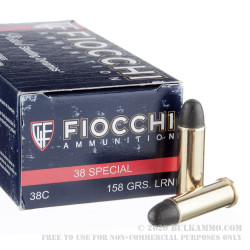 50 Rounds of .38 Spl Ammo by Fiocchi - 158gr LRN