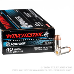 50 Rounds of .40 S&W Ammo by Winchester Ranger Bonded - 165gr JHP - LE Trade-In