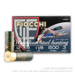 "25 Rounds of 12ga Ammo by Fiocchi Waterfowl - 3"" 1 1/8 ounce #3 Shot"