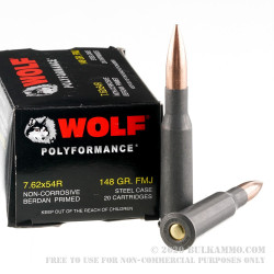 500 Rounds of 7.62x54r Ammo by Wolf Polyformance - 148gr FMJ