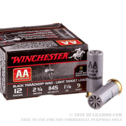 "25 Rounds of 12ga Ammo by Winchester TrAAcker Black -  2-3/4"" 1-1/8 ounce #9 shot"