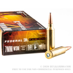 20 Rounds of 7mm Win Short Mag Ammo by Federal - 150gr Fusion