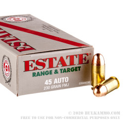 50 Rounds of .45 ACP Ammo by Estate Cartridge - 230gr FMJ