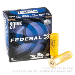 250 Rounds of 20ga Ammo by Federal Top Gun Sporting - 7/8 ounce #7.5 shot
