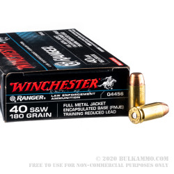 500 Rounds of .40 S&W Ammo by Winchester Ranger - 180gr FMJE