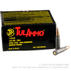 100 Rounds of 7.62x39mm Ammo by Tula - 122gr FMJ