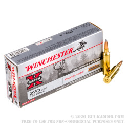 20 Rounds of .270 Win Short Mag Ammo by Winchester Super-X - 150gr PP