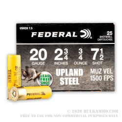 25 Rounds of 20ga Ammo by Federal Upland Steel - 3/4 ounce #7.5 shot