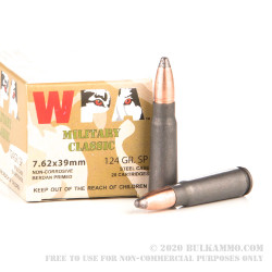 1000 Rounds of 7.62x39mm Ammo by Wolf - 124gr SP
