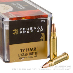 50 Rounds of .17HMR Ammo by Federal - 17gr TNT JHP