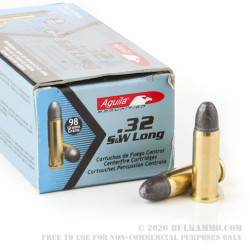 50 Rounds of .32S&W Long Ammo by Aguila - 98gr LRN