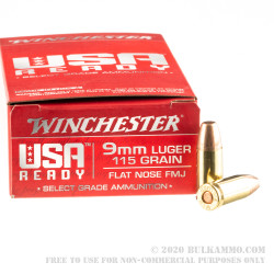 50 Rounds of 9mm Ammo by Winchester USA Ready - 115gr FMJ FN
