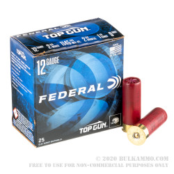 """25 Rounds of 12ga Ammo by Federal Top Gun - 2-3/4"""" 1 1/8 ounce #9 shot"""