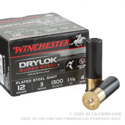 "25 Rounds of 12ga 3"" Ammo by Winchester Winchester Drylok Super Steel Magnum - 1 3/8 ounce #4 shot"