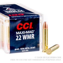 50 Rounds of .22 WMR Ammo by CCI - 40gr TMJ