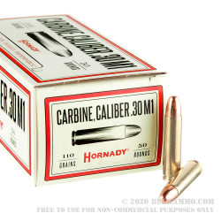 50 Rounds of .30 Carbine Ammo by Hornady - 110 Grain FMJ