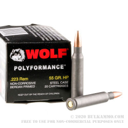 20 Rounds of .223 Ammo by Wolf WPA Polyformance - 55gr HP