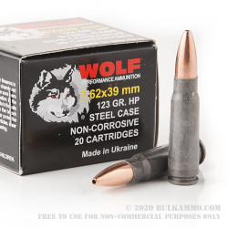 1000 Rounds of 7.62x39mm Ammo by Wolf Ukraine - 123gr HP