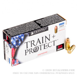 50 Rounds of 9mm Ammo by Federal Train + Protect - 115gr Versatile Hollow Point