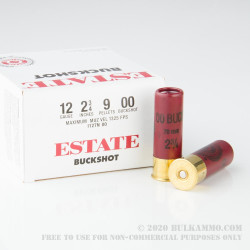 "25 Rounds of 12ga 2-3/4"" Ammo by Estate Cartridge - 00 Buck"