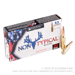 20 Rounds of 6.5mm Creedmoor Ammo by Federal NonTypical - 140gr SP