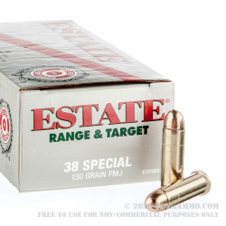 1000 Rounds of .38 Spl Ammo by Estate Cartridge - 130gr FMJ