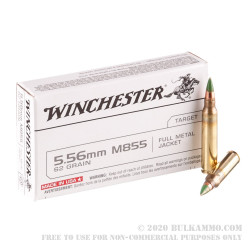 20 Rounds of 5.56x45mm M855 Penetrator Ammo by Winchester - 62gr FMJ