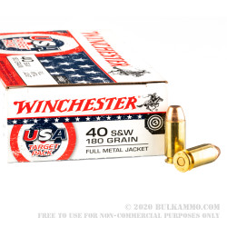 50 Rounds of 40 S&W Ammo by Winchester USA Target Pack - 180gr FMJ
